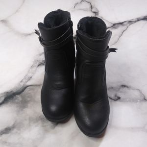Bamboo Leather Zip Up Combat Style Ankle Booties